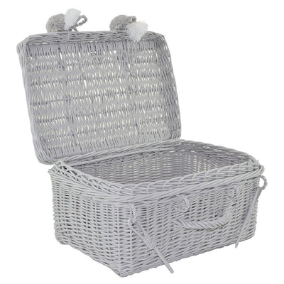 grey wicker suitcase