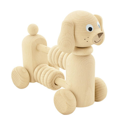 wooden push along toy with counting beads