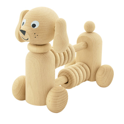 wooden push along toy with abacus