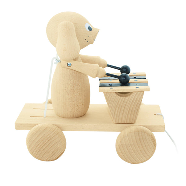 wooden pull along puppy dog toy with working musical xylophone