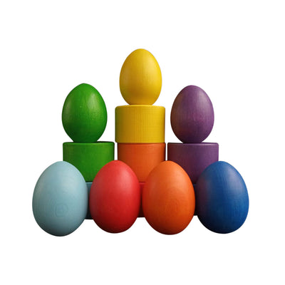 Rainbow Coloured Eggs with Cups