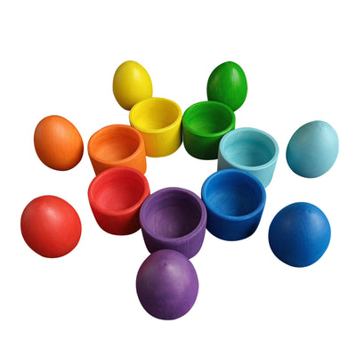 Wooden Eggs With Cups - Rainbow
