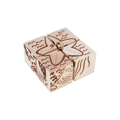 Wooden Cube Puzzle - Sea Creatures