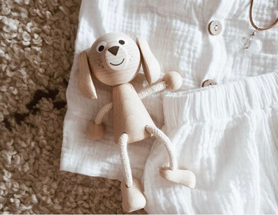 Wooden Toy Dog Figure | Happy Go Ducky