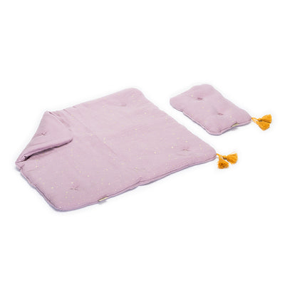 dusty pink coloured muslin bed cover