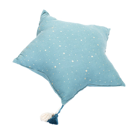 Muslin Star Pillow Large - Dusty Blue