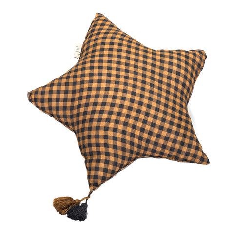Muslin Star Pillow Small - Honey Checkered