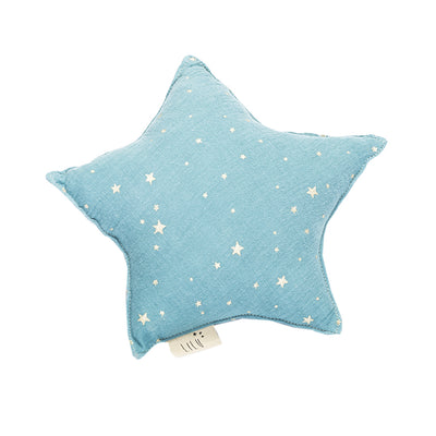 dusty blue muslin star shaped small pillow