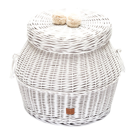 Large Wicker Hamper - White