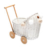 Wicker Dolls Pram White