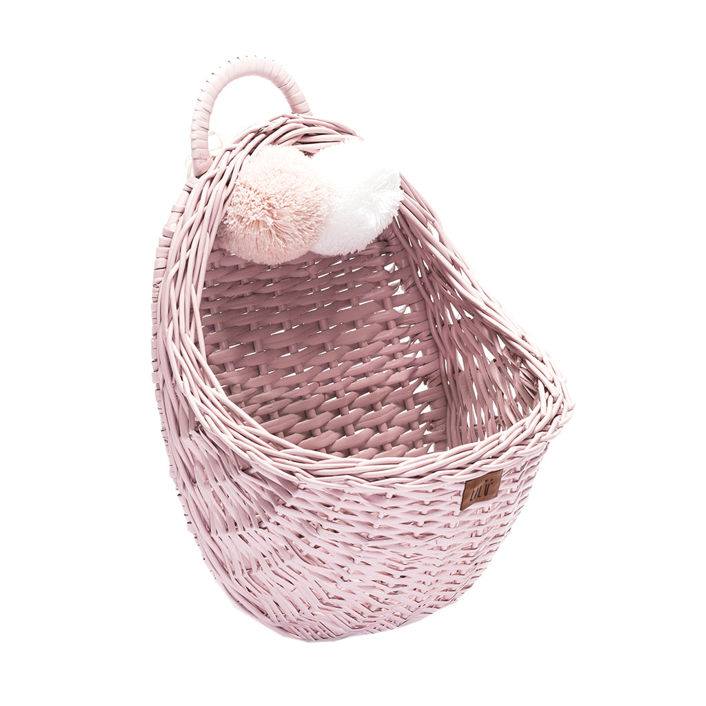 Dusty Pink Wicker Wall Basket