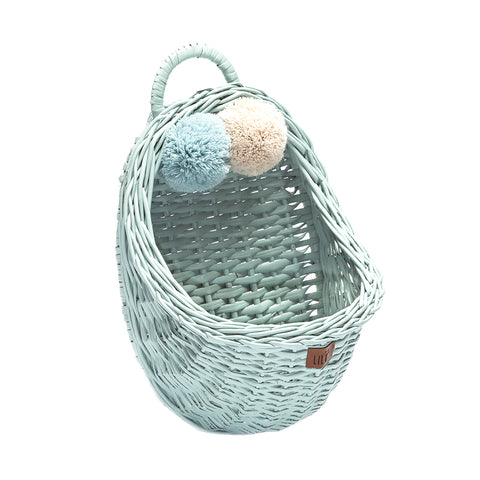 Wicker Wall Basket - Dirty Mint