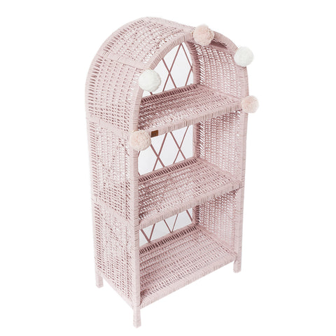 Large Dusty Pink Wicker Bookshelf