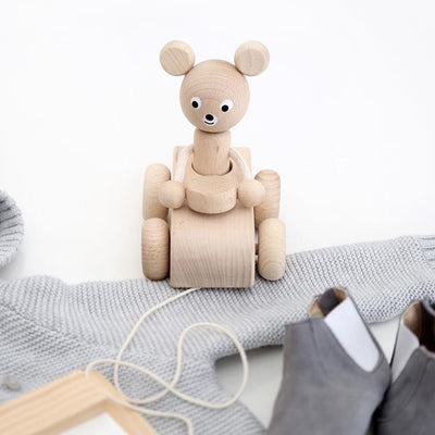 Wooden Pull Along Teddy Bear in Car Toy