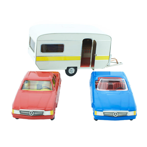 Tin Toy Set - Mercedes Cabrio, Coupe & Caravan