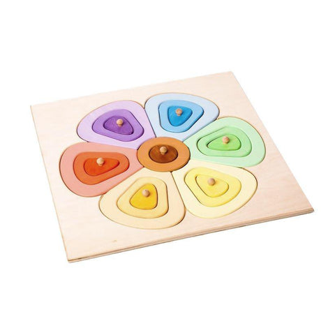 Colourful Wooden Flower Puzzle - Happy Go Ducky Toys