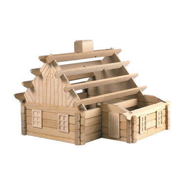 large wooden puzzle house toy