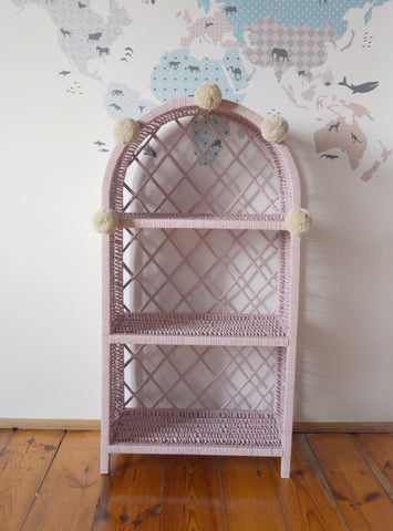 Large Wicker Bookshelf - Dusty Pink