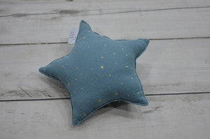 Muslin Star Pillow Small - Dusty Blue