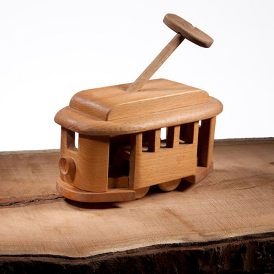 classic toy wooden passenger tram