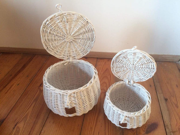 Wicker Basket Small - White (Arriving August)