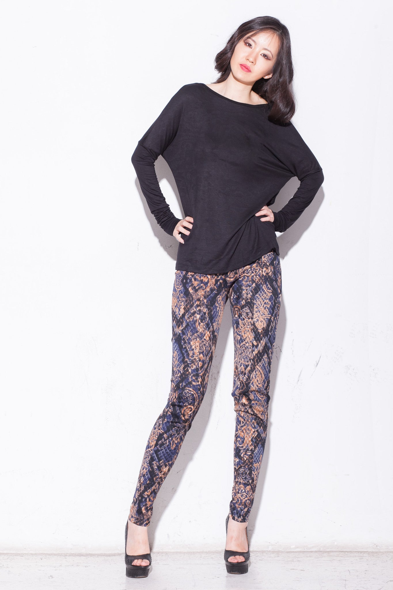 Alexa Golden Serpent Fitted Scuba Pants - ANA MARIA KIM  - 1