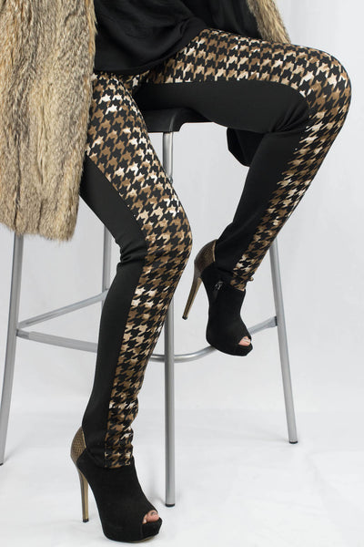 Kylie Houndstooth Color Block Pants - ANA MARIA KIM  - 1