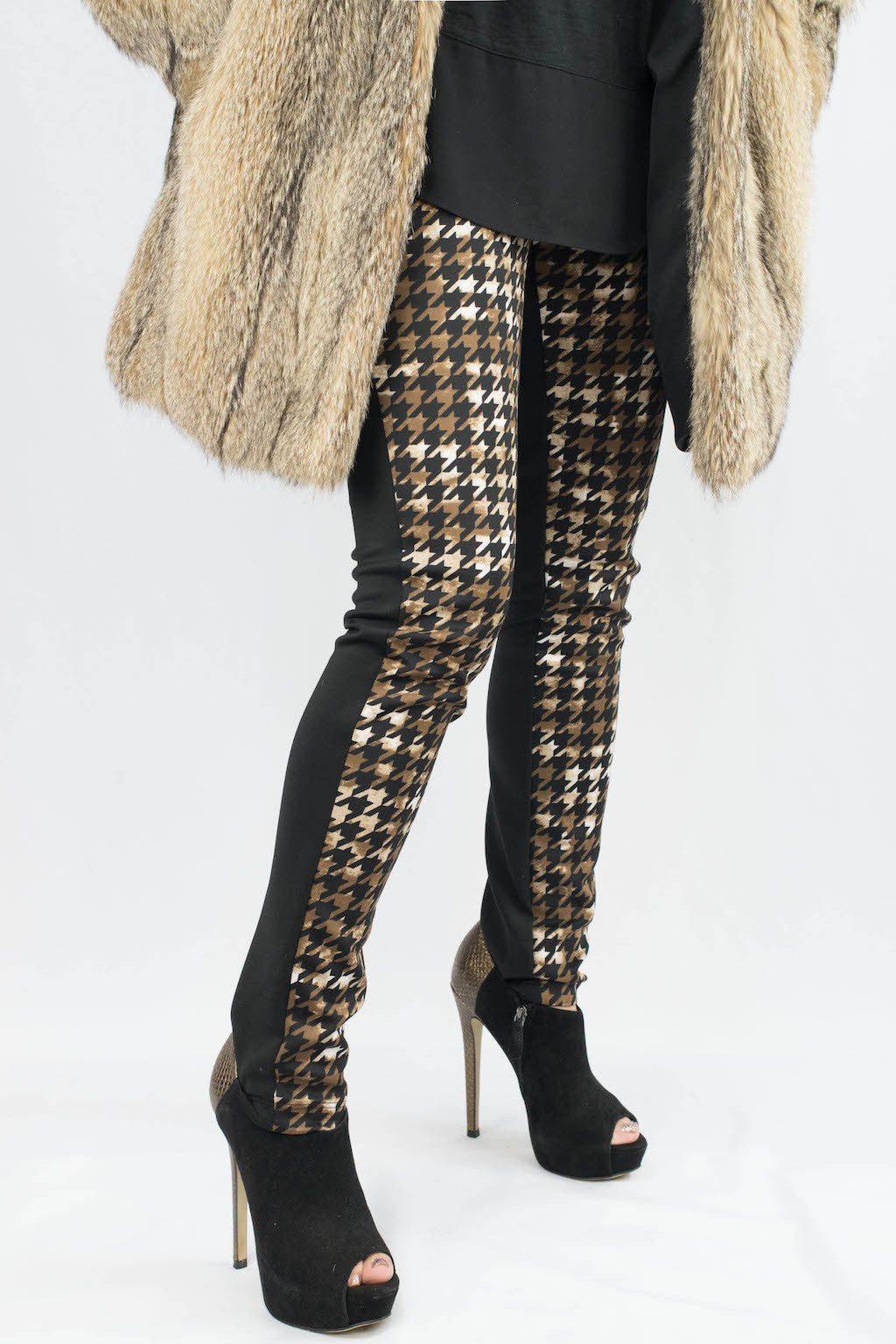 Kylie Houndstooth Color Block Pants - ANA MARIA KIM  - 2