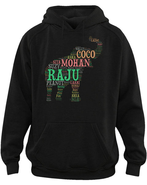 Men's | WLSOS Elephant Word Cloud | Hoodie