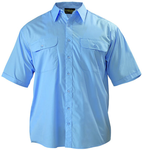 Bisley Permanent Press Shirt - Short Sleeve, S / Sky Blue, Work Shirts, Bisley Workwear,   - 2
