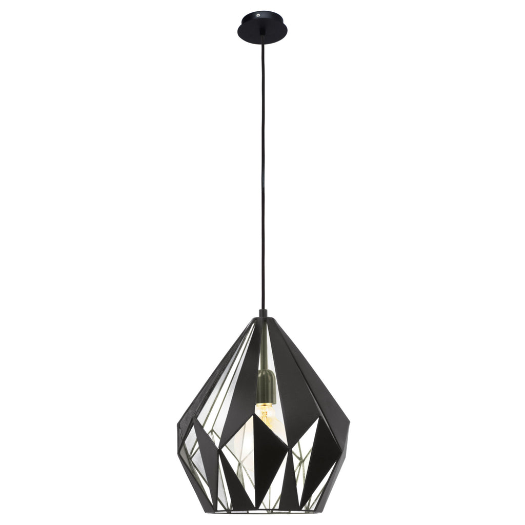 Eglo Silver Geometric Diamond Cutout Pendant Range - Lighting Lighting Lighting