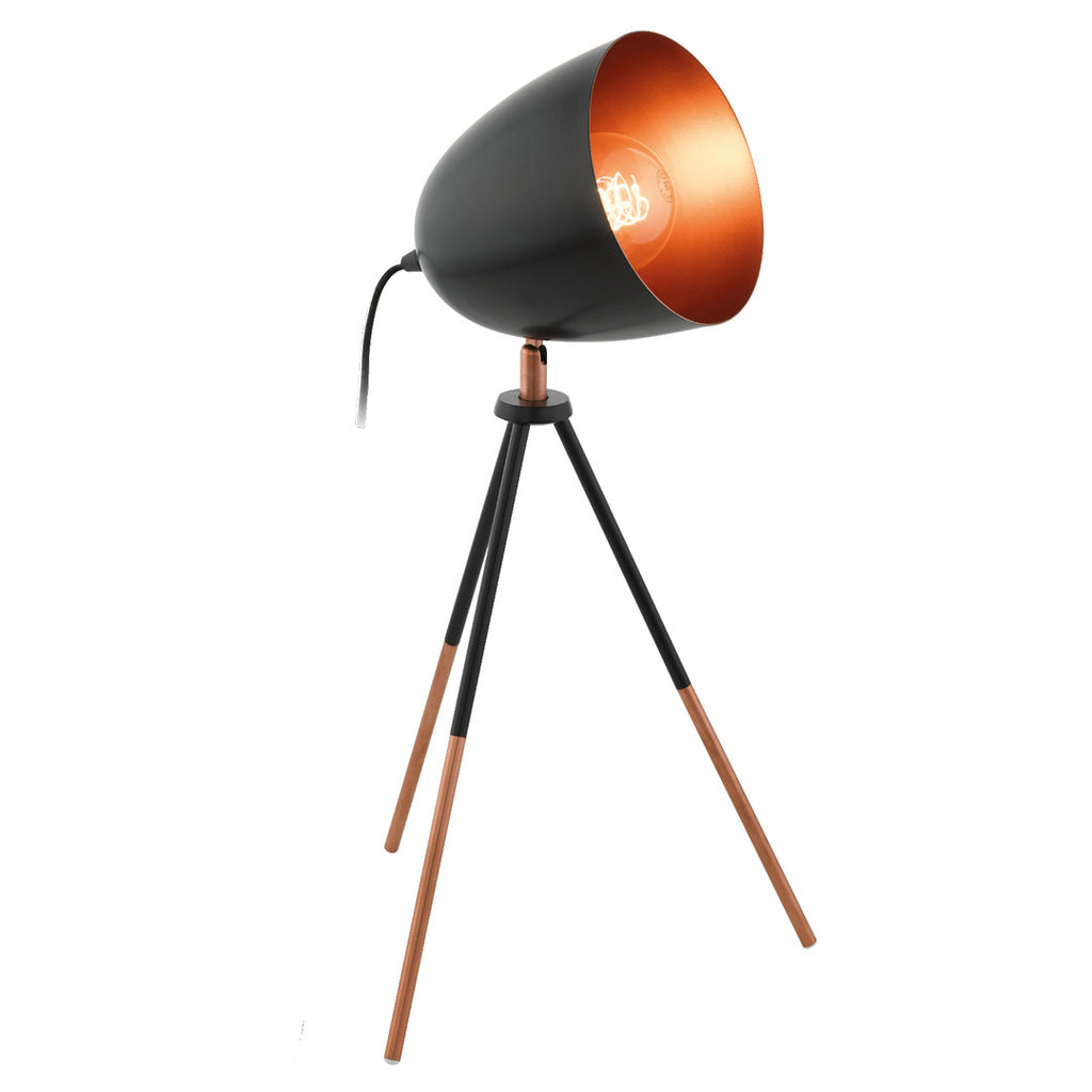 Eglo Black and Copper Retro Tripod Table Lamp - Lighting Lighting Lighting