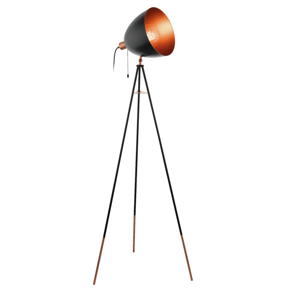 Eglo Black and Copper Retro Tripod Floor Lamp - Lighting Lighting Lighting