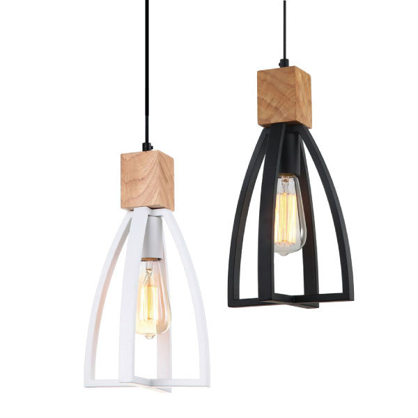 CLA Black White Timber Faro Pendant - Lighting Lighting Lighting