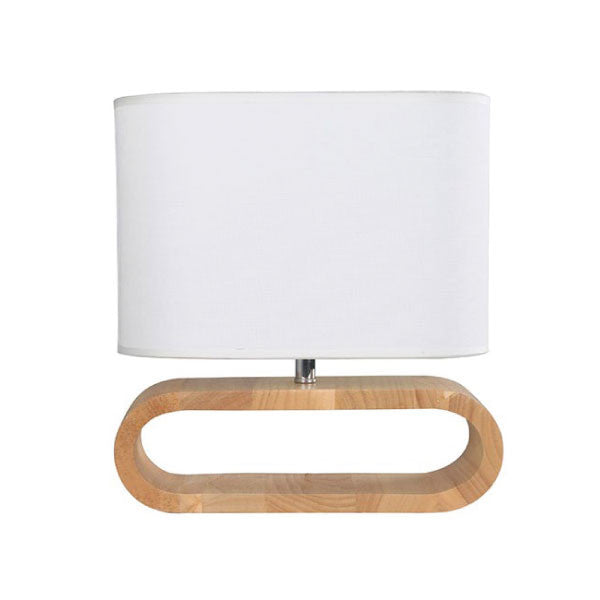 CLA White Timber Oval Lotus Table Lamp - Lighting Lighting Lighting
