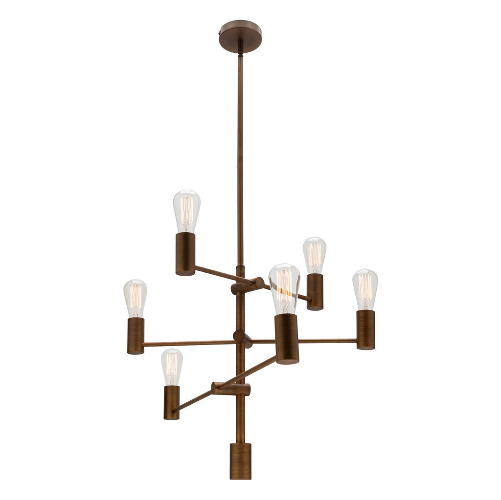 Mercator 6 Light Multi Arm Aged Brass Pendant Chandelier - Lighting Lighting Lighting