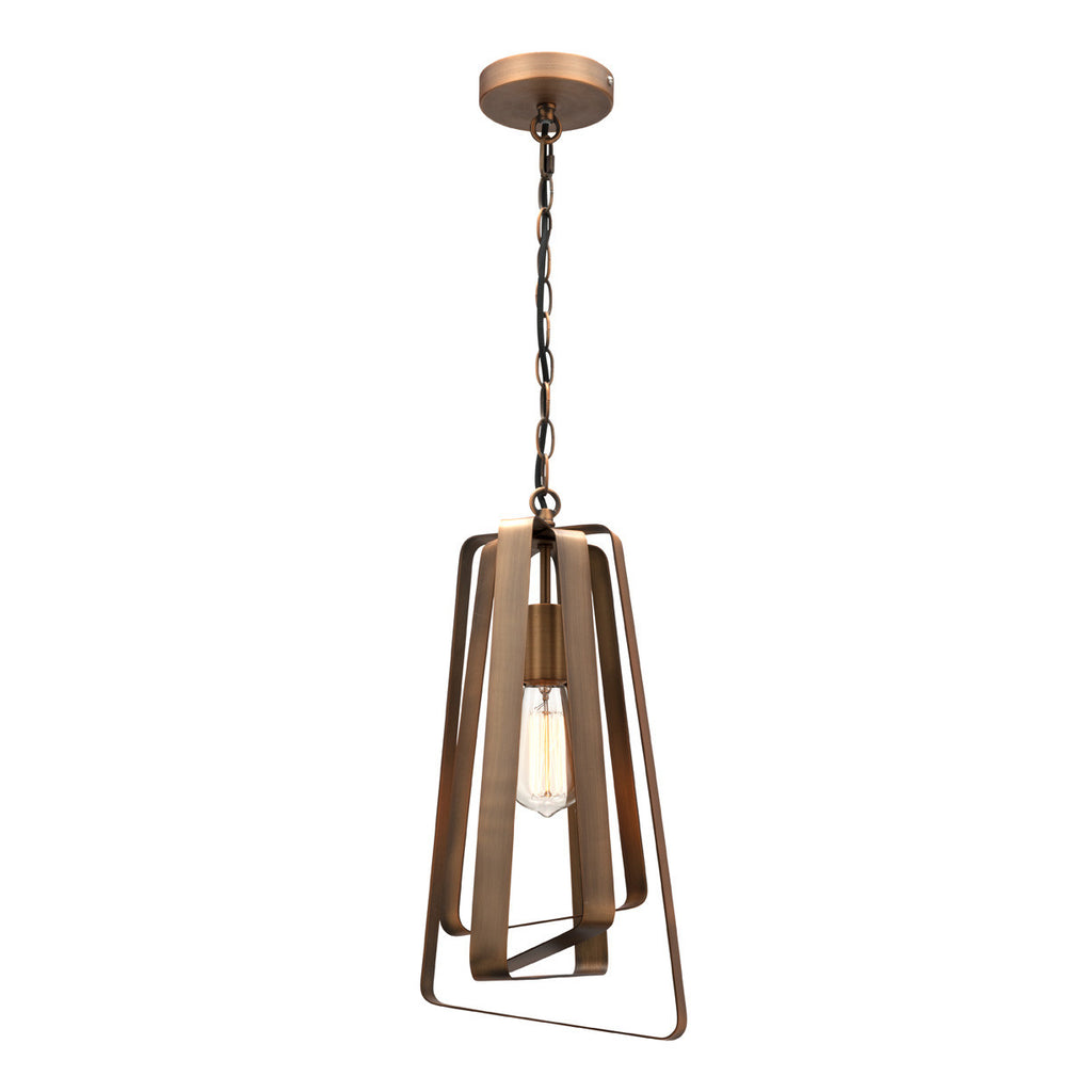 Mercator Assymetrical Aged Brass Metal Safia Pendant - Lighting Lighting Lighting