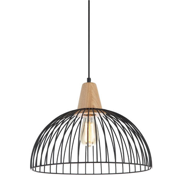 CLA White Black Wire Dome Timber Strand Pendant - Lighting Lighting Lighting