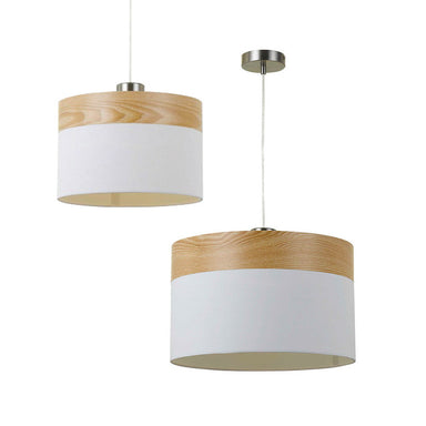 Telbix White Timber 300mm 400mm Shade Pendant - Lighting Lighting Lighting