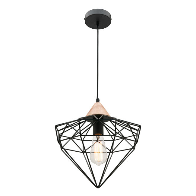 Cougar Geometric Black Timber Glint Pendant - Lighting Lighting Lighting