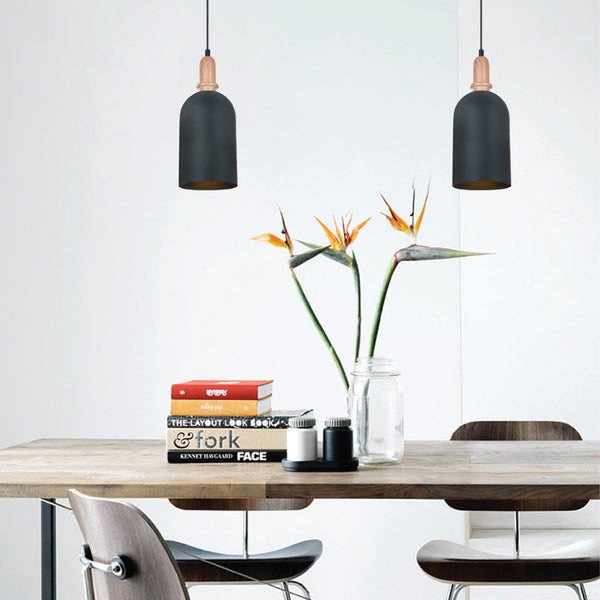 CLA Black Iron and Timber Pendant - Lighting Lighting Lighting