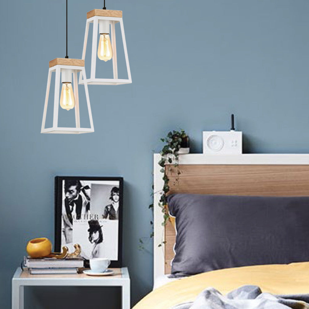 CLA White Metal Timber Lanterna Pendant - Lighting Lighting Lighting