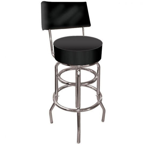 Black Padded Bar Stool with Back