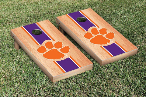 Clemson Tigers Cornhole Set- Hardcourt Stripe Version