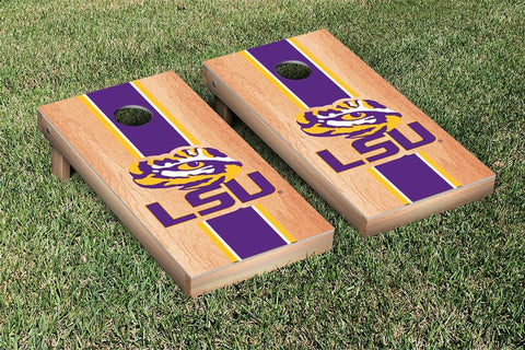 LSU Tigers Cornhole Set- Hardcourt Stripe Version