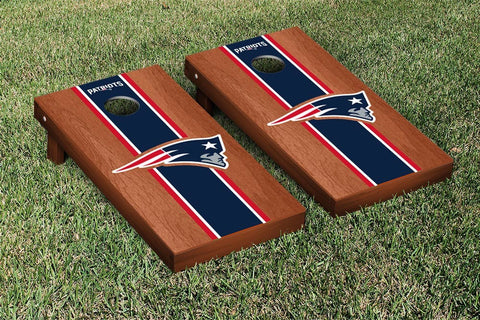 New England Patriots Cornhole Set- Rosewood Stained Stripe