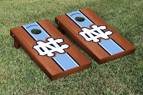 UNC Tar Heels Cornhole Set- Rosewood Stained Stripe Version