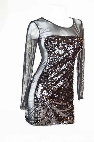 Sheer Sequin Party Dress