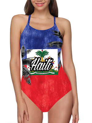 Load image into Gallery viewer, Haiti Flag Bathing Suit - Lila Nikole