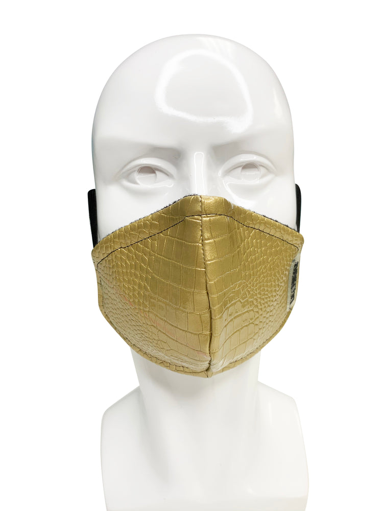 Load image into Gallery viewer, Gold Leather  Face Mask - Lila Nikole